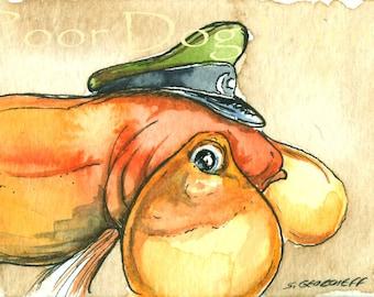 ACEO signed Print Captain Bubble Eyes..Goldfish -