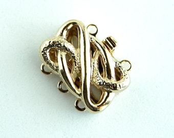 CLSP50GP 3 Strand Clasp Gold Plated Elegant Elements