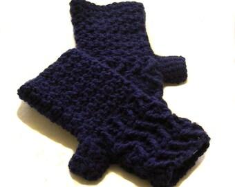 Navy Blue Crochet Fingerless Gloves with Chevrons, Navy Blue Texting Gloves, Navy Blue Wristwarmers, GLC125-01