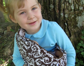 Doll Sling - Children's Toy Pouch - chocolate damask in cozy flannel