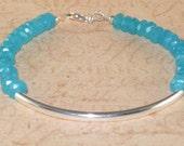 Jade Bracelet, Gemstone, Petite, Sterling, Silver, Tube Bracelet, Handmade Jewelry, DDurda