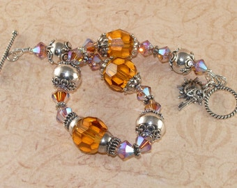 Swarovski Crystal Bracelet, Topaz, Light Colorado 2x AB, Bali, Sterling Silver, Chunky, Handmade Jewelry, DDurda
