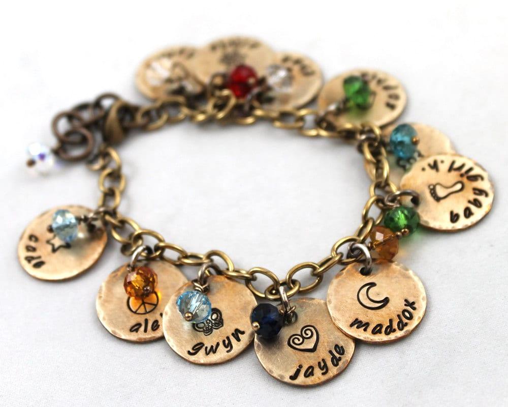 charm bracelet custom name mother 39 s day custom hand. Black Bedroom Furniture Sets. Home Design Ideas