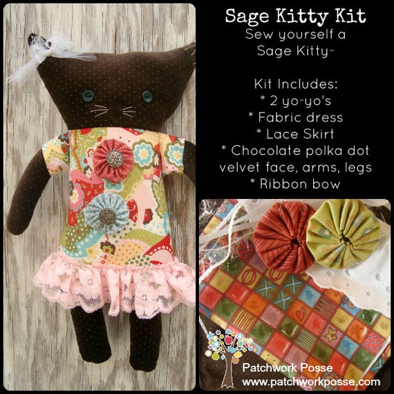 KIT for Sage Kitty Plush Pattern Included