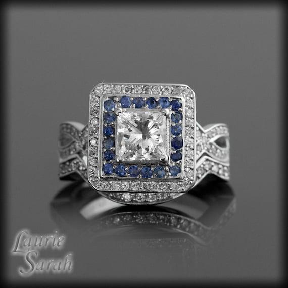 Diamond Engagement Ring with Sapphire & Diamond Double Halo Wedding Set - Contoured Diamond Wedding Band - LS1377
