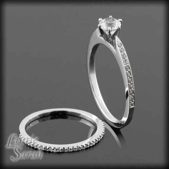 Diamond Alternative - White Sapphire Engagement Ring with Matching Wedding Band - LS1328