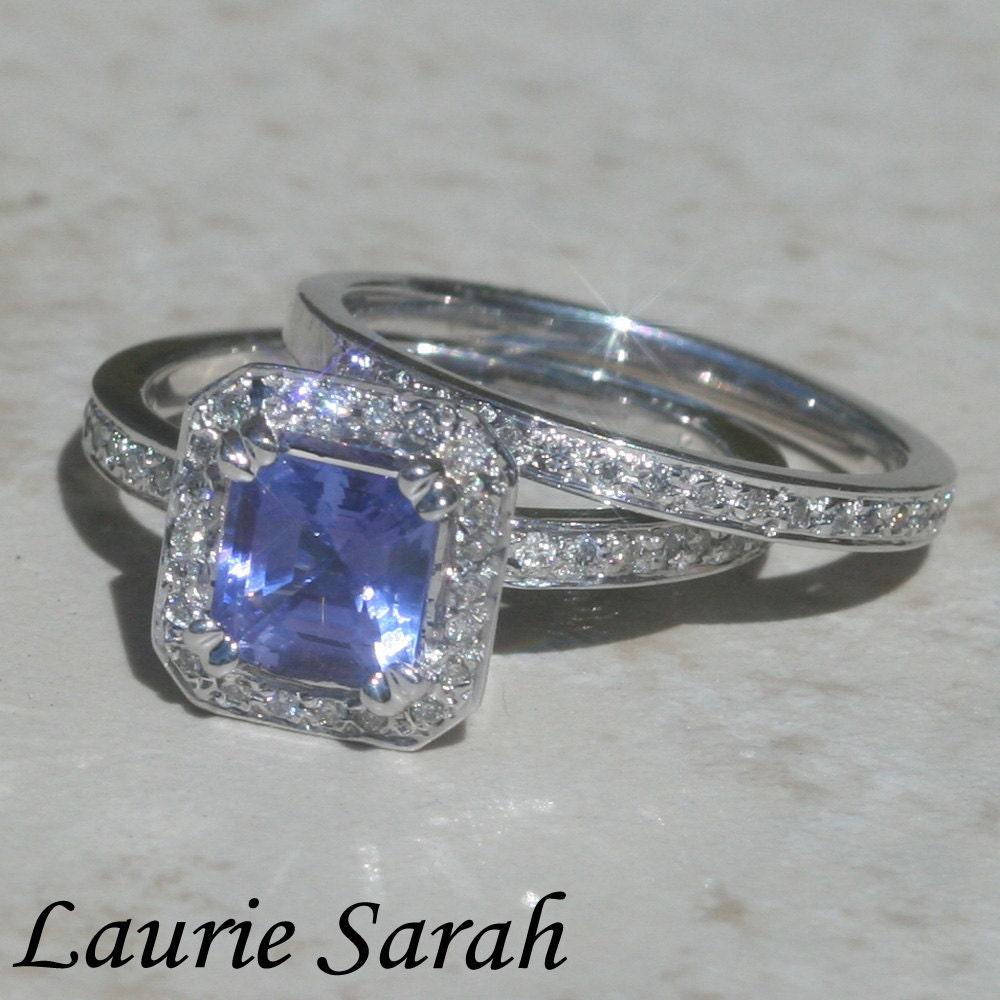 Wedding Ring Set Asscher Cut Tanzanite and by ...