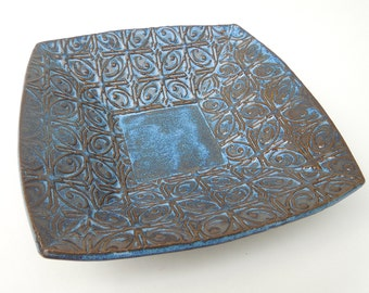 Small Dark Textured Tin Roof Blue Ceramic Pottery Serving Plate Bowl