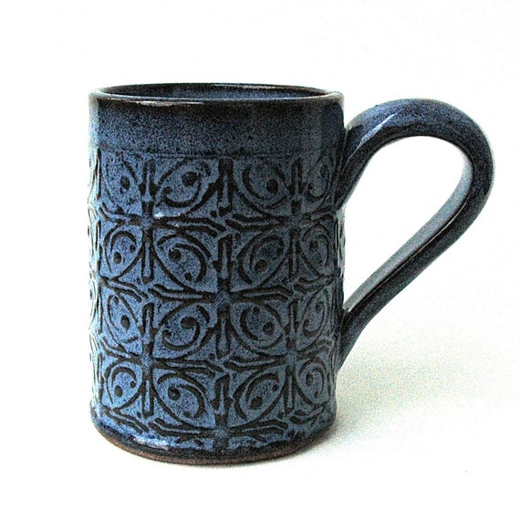 Dark Blue Textured Tin Roof Handmade Ceramic Pottery Coffee