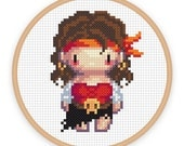 PIRATESS: a pixel art counted cross stitch pattern - digital download - printable pdf file