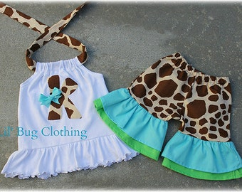 Custom Boutique Clothing Personalized  Birthday Girl Giraffe Teal Lime  And Cocoa Halter Top And Shorts