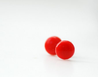 Stud Earrings, Red Earrings, Post Earrings, Summer Earrings, Girls Earrings, Simple Studs, Small Studs, Glass Studs