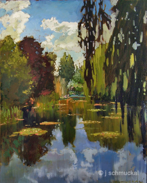 Monet's Pond at Giverny - Giclee Fine Art PRINT of Original Painting matted 11x14 by Jan Schmuckal