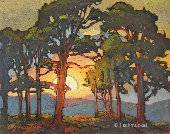 Mission arts and crafts craftsman pine sunset giclee by for Arts and crafts style prints