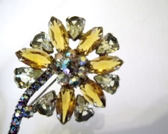 Juliana Style Large Flower Brooch Citrine & Yellow with AB Rhinestones Vintage 60s
