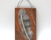 owl feather hand carved ceramic art tile