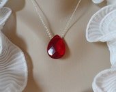 Ruby Red Quartz Necklace and Sterling Silver - Mothers Day Gifts, Birthday Gifts and Bridesmaids Gifts, Flower Girls
