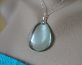 Large Aqua Quartz Necklace and Sterling Silver - Mothers Day Gifts, Birthday Gifts and Bridesmaids Gifts, Flower Girls