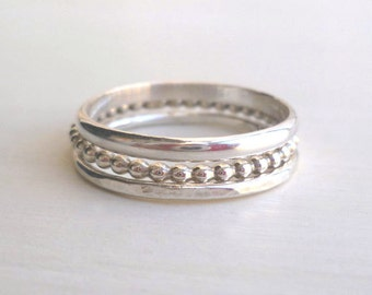 Stacked Rings - Sterling Silver - Custom - Handmade - Stackable RIngs - Modern - Thin - Delicate - Minimalist - Textured - Hipster Jewelry