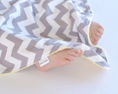Unisex Baby Blanket - Grey and White Chevron with Yellow Minky Lovie, Security Blanket with Minky for Baby Boy Baby Girl