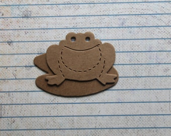 4 Bare chipboard small frog with 4 lilypad diecuts 1 3/4 inches wide