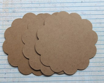 3 Bare chipboard die cuts scalloped circle diecuts 4 3/8 inches wide