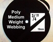"SALE - 100 Yards - 3/4"" - Poly Webbing, Polypropylene Webbing Medium weight - BLACK or White"