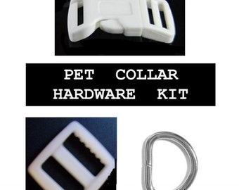 """Over Stock SALE - 50 SETS - 3/4"""" - WHITE - Dog Collar Kits with Keepers, 3/4 inch, 200 Pieces"""