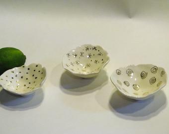 Gold leaf design tiny bowls for rings or salt