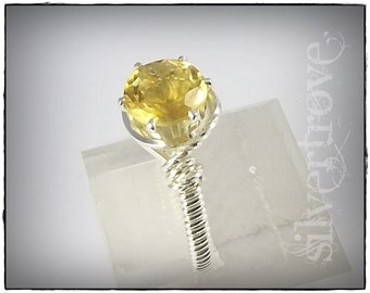 Citrine Ring Size 11 Birthstone Ring Gemstone Ring Sterling Silver Wire Wrapped Ring 8mm Round Faceted Gem - IN STOCK