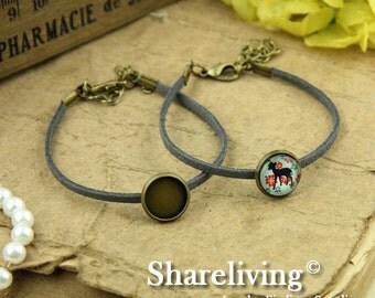 4pcs Bangle Bracelet With 12mm Round Bronze Cameo Setting (Gray) -- RI855D