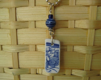 Vintage China jewelry, blue transferware pendant wire wrapped with glass beads, tumbled vintage china