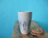 White Ceramic Cup with Blue Trees