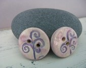 Pair of Buttons - Two - Purple - Ceramic Buttons