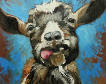 Goat 3 20x20 inch Print of oil painting by Roz