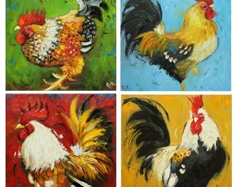 Commission your own four Rooster paintings 12x12 inches each, by Roz