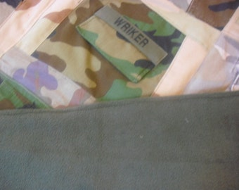 Upcycled Military Fatigue Throw Quilt OOAK, Special Order