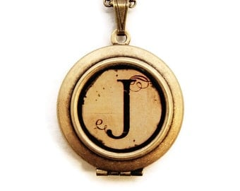 Vintage Alphabet Locket - Monogram Initial Locket Necklace