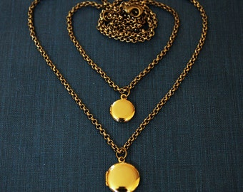 Generations - Two Teeny Tiny Shiny Gold Lockets - Mother and Daughter Matching Locket Necklaces