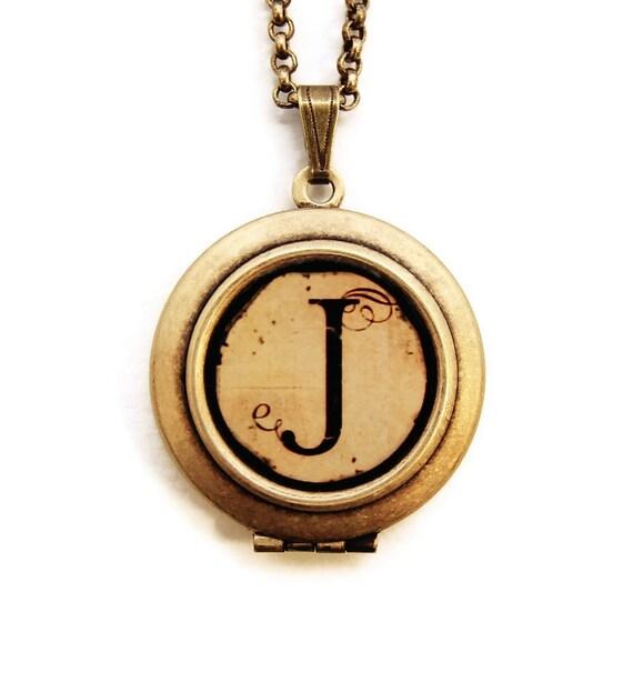 Vintage Alphabet Locket Monogram Initial Locket Necklace