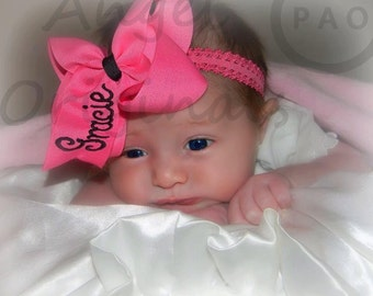 Monogrammed/ Personalized 4 inch Embroidered Boutique Hair Bow Embroidered with a First Name over 100 colors available