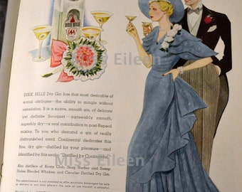 Vintage Art Print 1934 Edition Time Magazine Bouquet Dixie Belle Gin FREE MAT INCLUDED