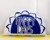 Original Screen Printed HAPPY DAYS SUNSHINE Cushion / Softie in Navy Blue