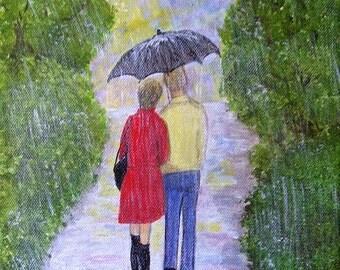 Let it Rain - 8 x 10 Urban Figurative Folk Art - Original Naive Painting on Canvas
