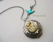 Steampunk Scent Locket Necklace with Bluebird