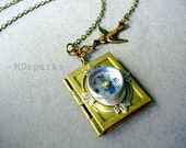 Compass Book Locket Necklace