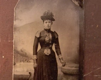 Tin Type Photo - Victorian Lady in Long Dress