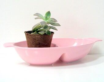 Pink Dish - Divided Serving Bowl - Mid Century Vintage
