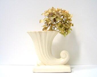 Vintage White Cornucopia Vase