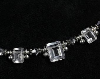 Rock Crystal Quartz Emerald Cut Necklace